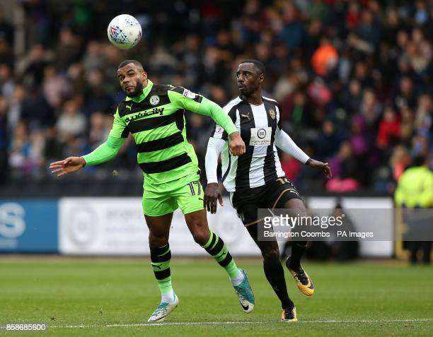 Notts County's Jonathan Forte and Forest Green Rovers Dan Wishart during the match at Meadow Lane Nottingham