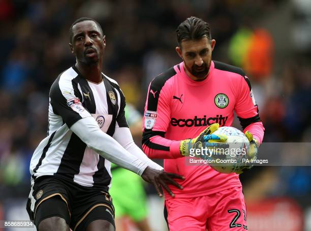 Notts County's Jonathan Forte and Forest Green Rovers' goalkeeper Bradley Collins during the match at Meadow Lane Nottingham