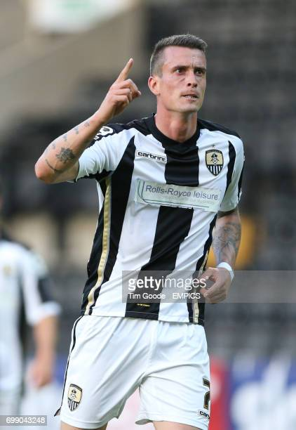 Notts County's Julian Jenner celebrates scoring his team's first goal of the game