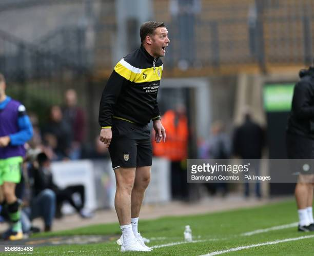 Notts County's manager Kevin Nolan during the match at Meadow Lane Nottingham