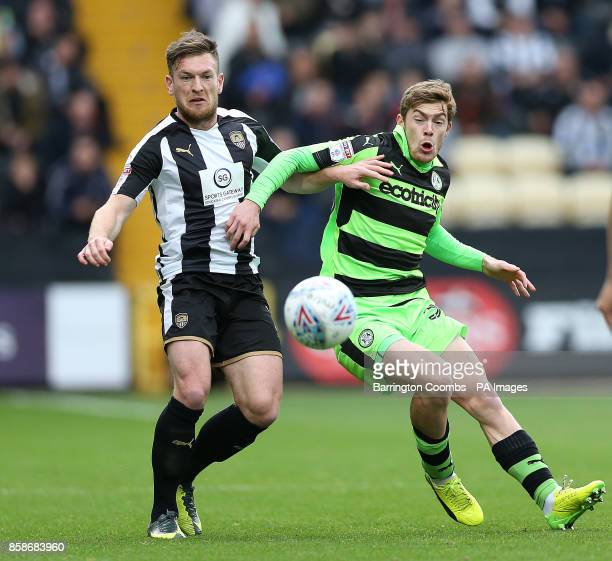 Notts County's Matt Tootle and Forest Green Scott Rovers Scott Laird during the match at Meadow Lane Nottingham