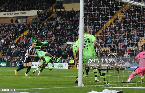 Notts County's Rob Milson scores the late equaliser against Forest Green Rovers during the match at Meadow Lane Nottingham