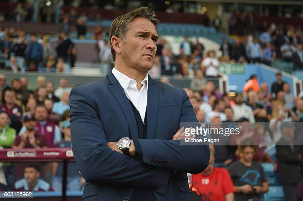 Notts Forest manager Philippe Montanier looks on during the Sky Bet Championship match between Aston Villa and Nottingham Forest at Villa Park on...