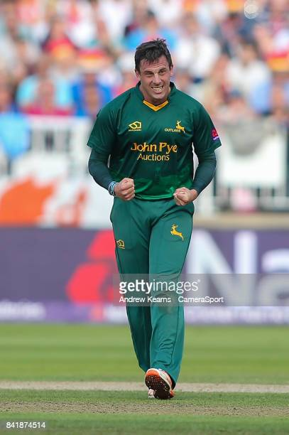 Notts Outlaws' Steven Mullaney celebrates taking the wicket of Hampshire's James Vince during the NatWest T20 Blast SemiFinal match between Hampshire...
