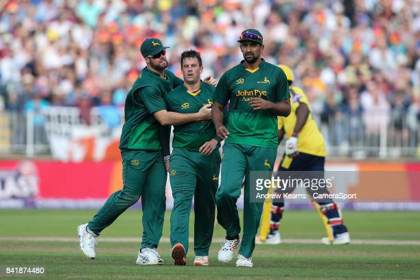 Notts Outlaws' Steven Mullaney celebrates with his teammates after taking the wicket of Hampshire's James Vince during the NatWest T20 Blast...