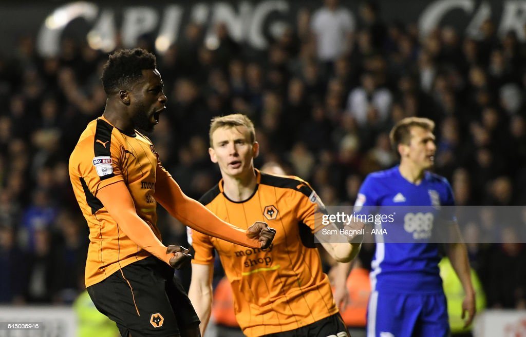 Nouha Dicko of Wolverhampton Wanderers celebrates after scoring a goal to make it 1-2 during the Sky Bet Championship match between Wolverhampton Wanderers and Birmingham City at Molineux on February 24, 2017 in Wolverhampton, England.