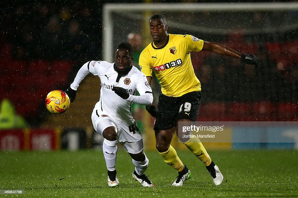 Nouha Dicko of Wolves tackles for the ball with Sebastien Bassong of Watford during the Sky Bet Championship match between Watford and Wolverhampton...