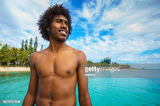 Noumea Beach New Caledonia Happy Smiling Pacific Islander