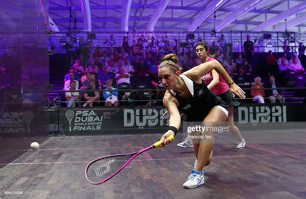 Nour El Sherbini of Egypt competes against Camille Serme of France during day three of the PSA Dubai World Series Finals 2016 at Burj Park on May 26, 2016 in Dubai, United Arab Emirates.