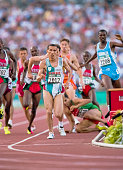 Noureddine Morceli of Algeria runs in the 1500 meter final of the Athletics Competition of the 1996 Olympic Games on August 3 1996 in the Olympic...