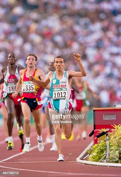 Noureddine Morceli of Algeria wins the 1500 meter final of the Athletics Competition of the 1996 Olympic Games on August 3 1996 in the Olympic...