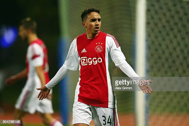Nouri Abdelhak of Ajax reacts during a friendly match between Hamburger SV and Ajax Amsterdam at Gloria Sports Center on January 9 2016 in Belek...