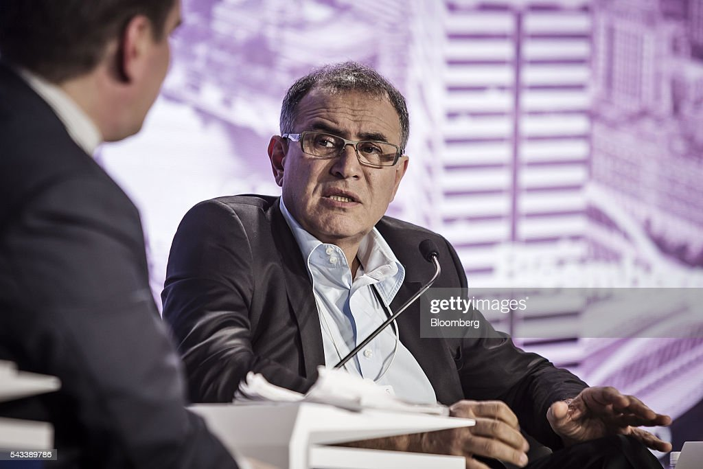 <a gi-track='captionPersonalityLinkClicked' href=/galleries/search?phrase=Nouriel+Roubini&family=editorial&specificpeople=5585642 ng-click='$event.stopPropagation()'>Nouriel Roubini</a>, chairman and co-founder of Roubini Global Economics LLC and professor of economics and international business at New York University's (NYU) Leonard N Stern School of Business, speaks during a Bloomberg TV debate at the World Economic Forum (WEF) Annual Meeting of the New Champions in Tianjin, China, on Tuesday, June 28, 2016. The meeting runs through June 28. Photographer: Qilai Shen/Bloomberg via Getty Images