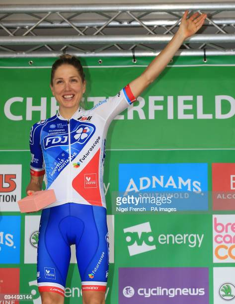 FDJ Nouvelle Aquitaine Futuroscope's Shara Gillow celebrates after winning the combativaty award during stage four of the Women's Tour of Britain...