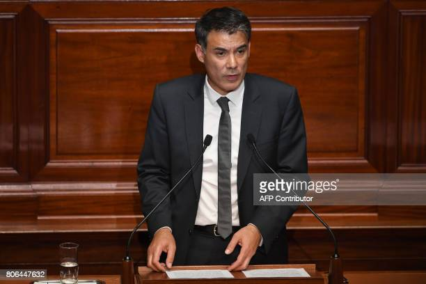 Nouvelle Gauche parliamentary group's president at the French national assembly Olivier Faure delivers a speech during a special congress gathering...