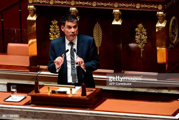 Nouvelle Gauche socialist party's group president at the French national assembly Olivier Faure delivers a speech following the French Prime...