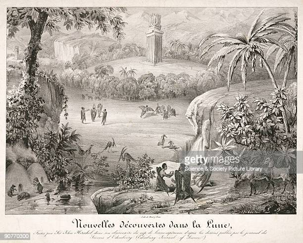 �Nouvelles Decouvertes dans la Lune� A French print by the Thierry bothers showing the appearance of the landscape and inhabitants of the Moon These...