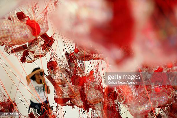 A visitor takes photos of Brazilian artist Tunga's work 'True Rouge' at the Instituto Inhotim in Brumadinho Brazil The Instituto Inhotim began to be...