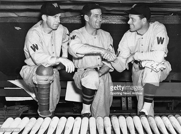 Nov 15 2007 Washington DC USA RICK FERRELL left and brother WESLEY FERRELL right joined the Washington Senators in June 1937 Manager BUCKY HARRIS is...