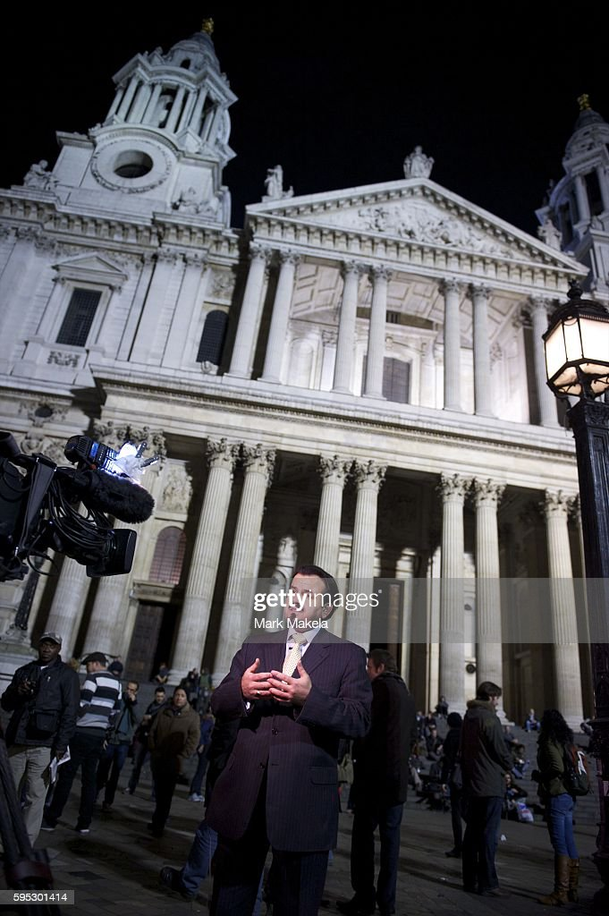Nov 17 2011 London England UK A television crew broadcasts live outside St Paul's Cathedral as part of 'Occupy London' one of more than a thousand...