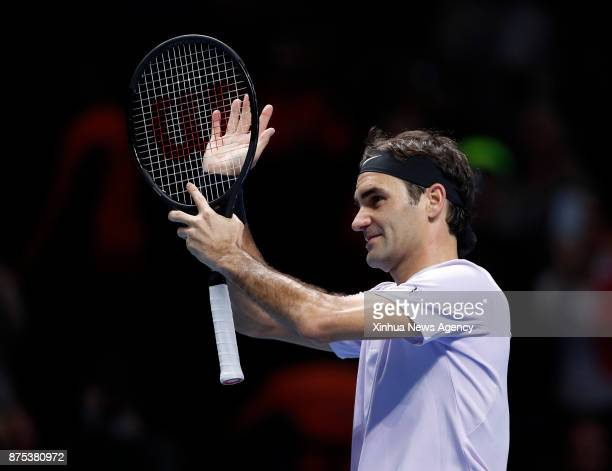 LONDON Nov 17 2017 Roger Federer of Switzerland celebrates after the singles group match against Marin Cilic of Croatia during the Nitto ATP World...