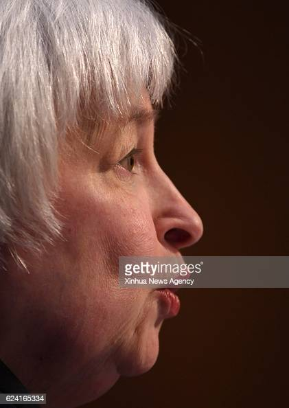 US Federal Reserve chair Janet Yellen speaks during her testimony before the Joint Economic Committee of the US Congress on Capitol in Washington DC...