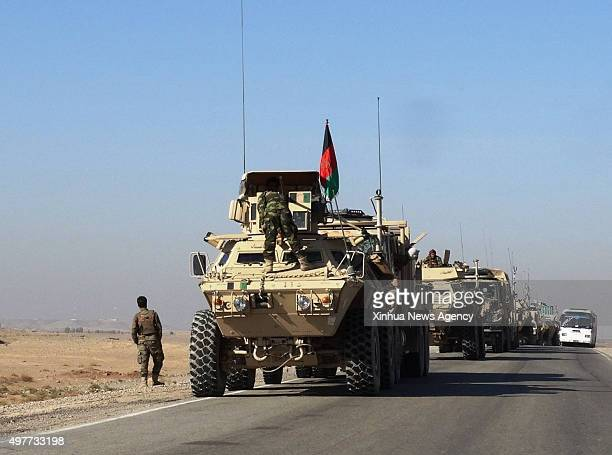 KABUL Nov 18 2015 Photo taken on Nov 17 2015 shows military vehicles during a military operatin in Musa Qala district of the southern Helmand...