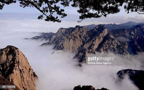 XI'AN Nov 18 2015 The Huashan Mountain is surrounded by cloud and fog in northwest China's Shaanxi Province Nov 14 2015