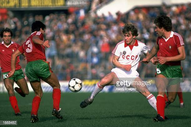 Inacio and Eurico of Portugal beat Rodionov of Russia during the European Championship qualifying match against Russia played in Lisbon Portugal...