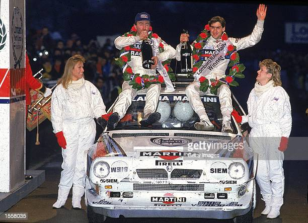 Henri Toivonen of Finland celebrates victory in the RAC Rally in Great Britain Mandatory Credit Allsport UK /Allsport