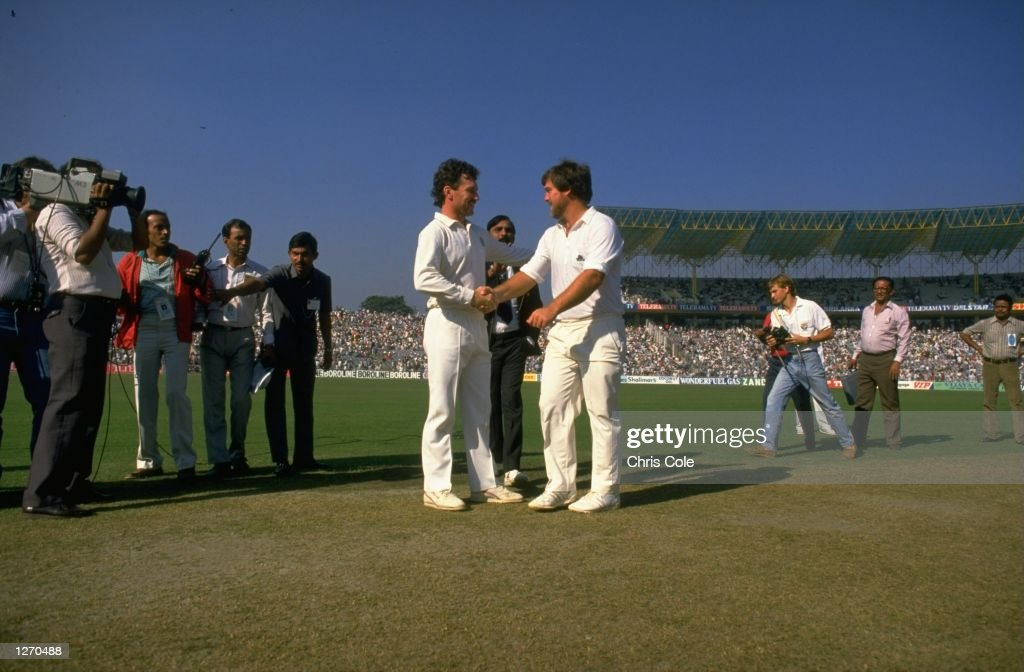 Hands with mike gatting of england before the start of the world cup