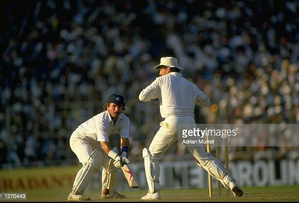Allan Lamb of England in action during the World Cup final against Australia at Eden Gardens in Calcutta India Australia won the match by seven runs...