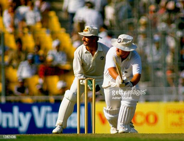 Mike Gatting of England is caught out for 41 off Allan Border of Australia during the World Cup Final at Eden Gardens in Calcutta India Australia won...