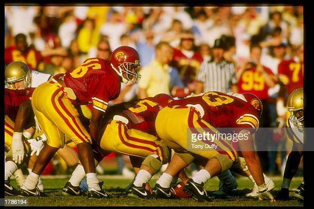 Quarterback Rodney Peete of the USC Trojans calls the cadence during a game against the UCLA Bruins at the Los Angeles Memorial Coliseum in Los...