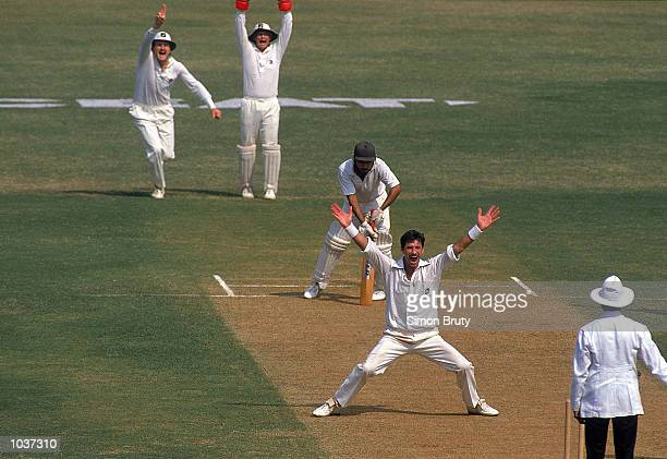 Richard Hadlee of New Zealand traps an Indian batsmen for another wicket in the Second Test match in Bombay India Mandatory Credit Simon Bruty...