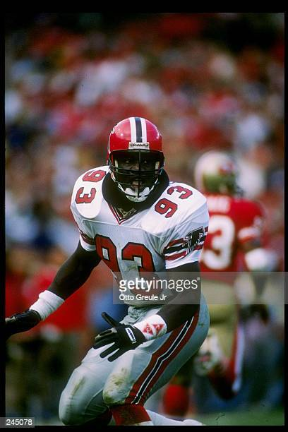 Defensive back Aundray Bruce of the Atlanta Falcons in action during a game against the San Francisco 49ers at Candlestick Park in San Francisco...
