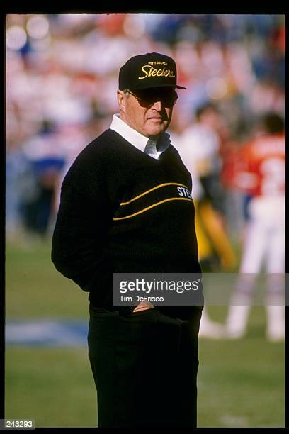Head coach Chuck Noll of the Pittsburgh Steelers looks on during a game against the Denver Broncos at Three Rivers Stadium in Pittsburgh Pennsylvania...