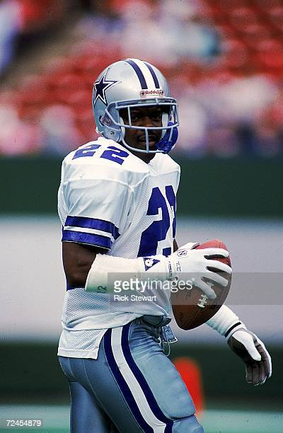 Emmitt Smith of the Dallas Cowboys carries the ball during a game against the New York Jets The Jets defeated the Cowboys 249 Mandatory Credit Rick...