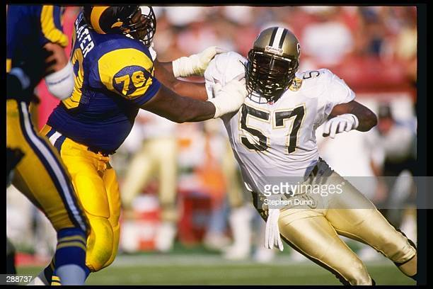 Linebacker Rickey Jackson of the New Orleans Saints works against the Los Angeles Rams during a game at Anaheim Stadium in Anaheim California The...