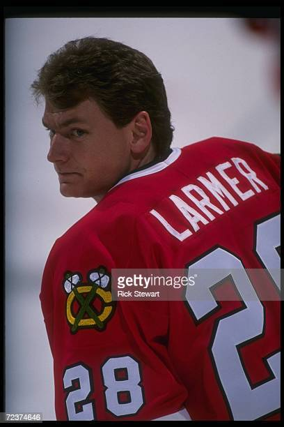 Rightwinger Steve Larmer of the Chicago Blackhawks looks on during a game against the Buffalo Sabres at Memorial Auditorium in Buffalo New York...