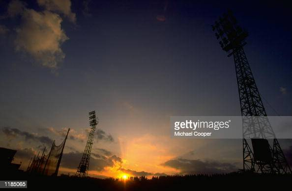 General view of the sun setting over Windsor Park after the match between Linfield and Cliftonville in Belfast Northern Ireland Mandatory Credit...
