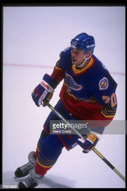 Center Adam Creighton of the St Louis Blues looks on during a game against the Anaheim Mighty Ducks at Arrowhead Pond in Anaheim California The Ducks...
