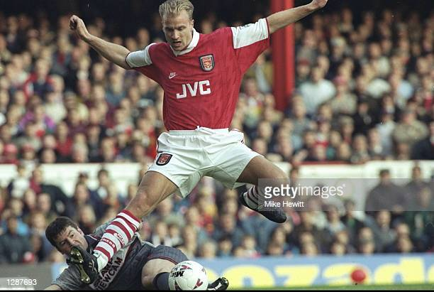 Dennis Bergkamp of Arsenal in action during an FA Carling Premiership match against Manchester United at Highbury Stadium in London Arsenal won the...