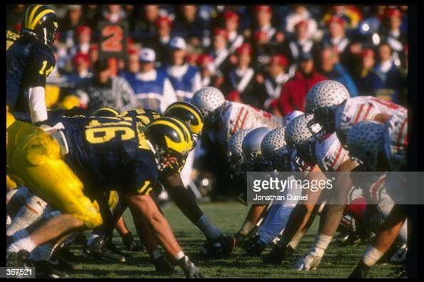 General view of a game between the Ohio State Buckeyes and the Michigan Wolverines at Michigan Stadium in Ann Arbor Michigan Michigan won the game...