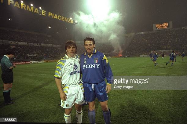 Gianfranco Zola of Parma and Alessandro Del Piero of Juventus stand together before the Serie A match in Parma Italy The match ended in a 11 draw...