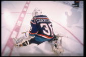 Goaltender Tommy Soderstrom of the New York Islanders looks on during a game against the Buffalo Sabres at Memorial Auditorium in Buffalo New York