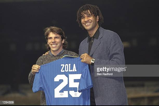 Chelsea new signing Gianfranco Zola meets the press with manager Ruud Gullit at Stamford Bridge in London Mandatory Credit Ben Radford/Allsport