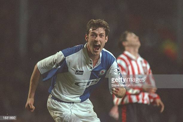 Chris Sutton of Blackburn turns to celebrate after scoring during the FA Carling Premier league match between Blackburn Rovers and Southampton at...