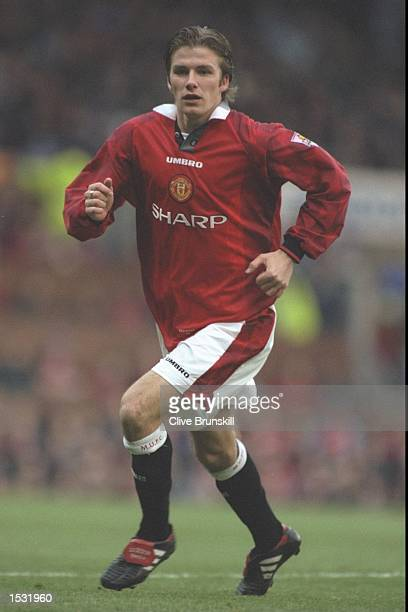 David Beckham of Man Utd in action during the FA Carling Premier league match between Manchester United and Leicester City at Old Trafford in...