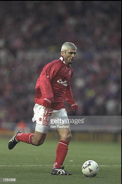Fabrizio Ravanelli of Middlesbrough in action during the FA Carling Premier league match between Middlesbrough and Manchester United at the Riverside...